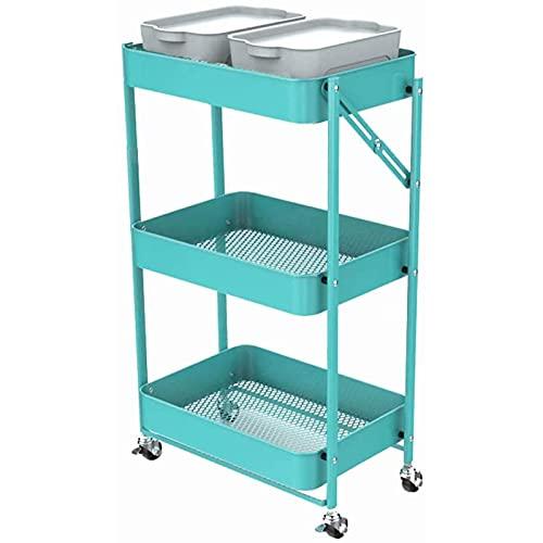 g/j/f Carrito de Almacenamiento Plegable Multifuncional de Metal,Utility Kitchen Trolley de 3 Niveles con Ruedas Bloqueables, para Cocina, Cafetería, Baño, Oficina(Size:45x30x77)