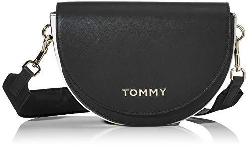 Tommy Hilfiger Damen Tommy Staple Saddle Umhängetasche, Schwarz (Black), 1x1x1 cm