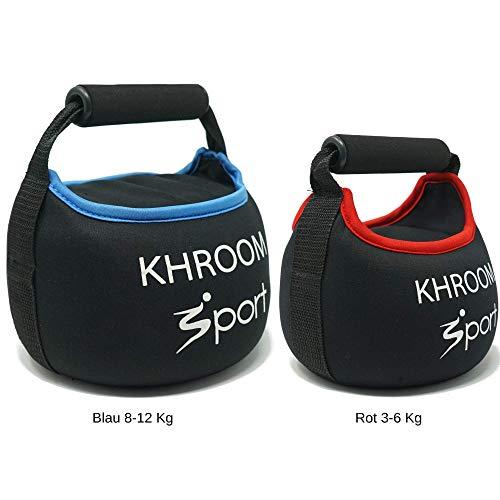 Khroom Sport, Kettlebell morbida, selezionabile da 3 a 12 kg, perfetta per il vostro allenamento in casa, in neoprene con imbottitura di sabbia, Nero , 4 kg