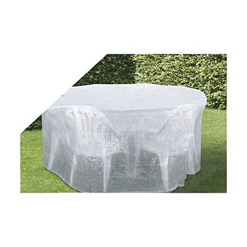Boni-Shop transparente Schutzhülle f. Gartenmöbel Abdeckung (runde Sitzgruppe,ca.200x95)
