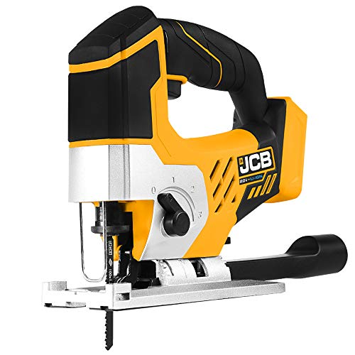 JCB Tools - JCB 20V Cordless Jigsaw Power Tool T-Shank Blades - No Battery - For Home Improvements, Scrollwork, Curved Edges, Difficult Shapes - With LED Light, Dust Blower and Vacuum Attachment