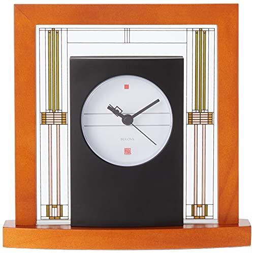 Bulova Relógio de mesa B7756 Willits Frank Lloyd Wright, acabamento cereja claro