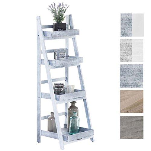 CLP Estantería Escalera Dorin con 4 Estantes I Estantería Plegable en Estilo Rústico I Estantería Decorativa de Madera I Color: Gris