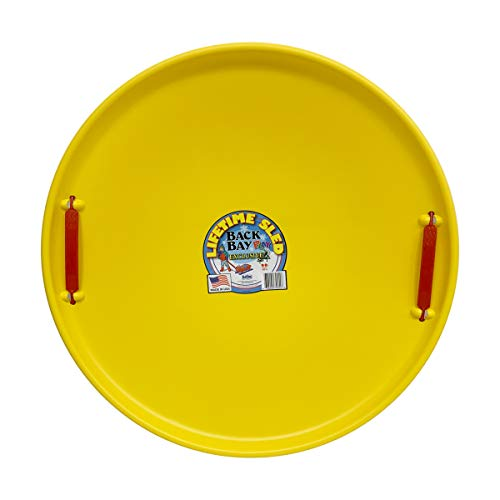 Back Bay Play Lifetime Downhill Saucer Disc - Snow Sled with Handles, for Kids and Adults - Durable Sleds for Winter Sledding Outdoors - Ages 5 and Up (Electric Yellow)
