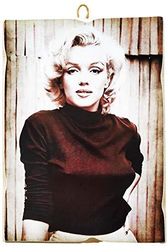 KUSTOM ART Cuadro de estilo vintage Marilyn Monroe de colección, impresión sobre madera