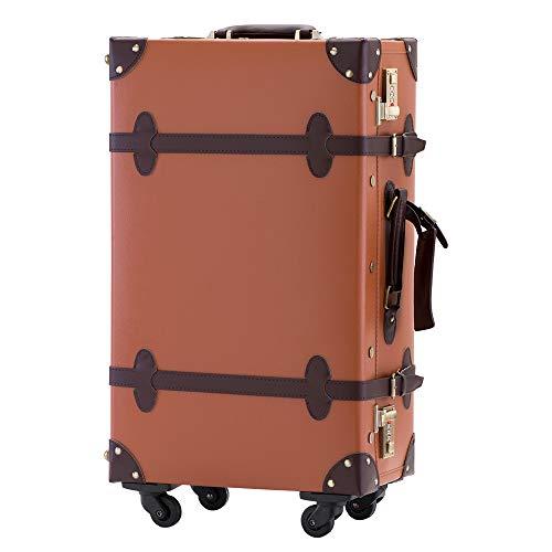 TANOBI トランクケース キャリーバッグ SS機内持込可 手作り 復古主義 修学旅行 ネームタグ レトロ おしゃれ かわいい 13色4サイズ(一年安心保証) (キャメルxブラウン, Mサイズ(3−5泊))