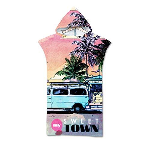 Treer Toallas de Playa Toallas con Capucha, 3D Animal Impresión Poncho Toalla Baño, Adulto Secado Rápid Toalla Bata Manta para Hombre Hembra Playa Surf Natación (75x110cm,D)