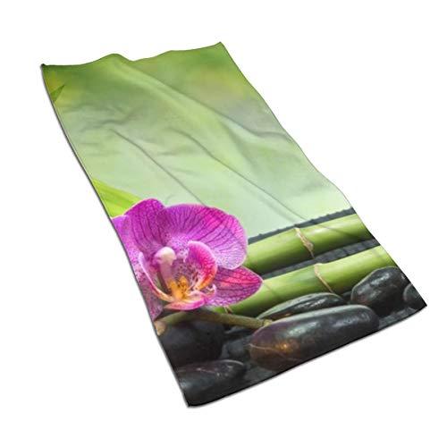 N/A - Juego de toallas de baño de algodón egipcio con impresión de acuarela y impresión artística, ultra absorbente, para viajes, deporte, asiático, jardín, orquídea, piedra, bambú, Zen 69,8 x 39,9 cm