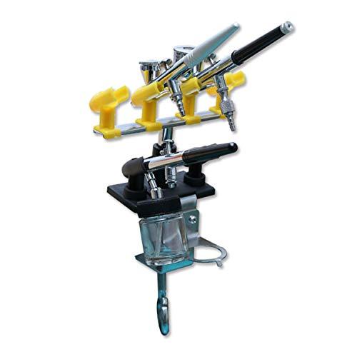 ABEST Soporte de aerógrafo de alta calidad Kit de soporte de estación estilo abrazadera 4 + 2 Estación de banco de mesa de pistola de pulverización de montaje para aerógrafo Girar 360 °