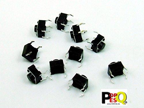 STK. 10 x Taster Tact Switch (6mm x 6mm) 5mm 4 polig/pin THT Rundkopf #A1821