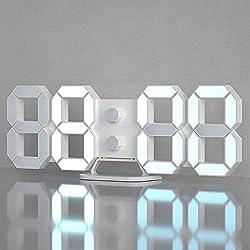 3D Digital Alarm Clock, Modern Design LED Wall / Desk Clocks 12/24H Time /Date/ Temperature Display, Nightlight /Brightness Adjustable/White Light for Kitchen/Office/Living Room/Classroom/Metting Room