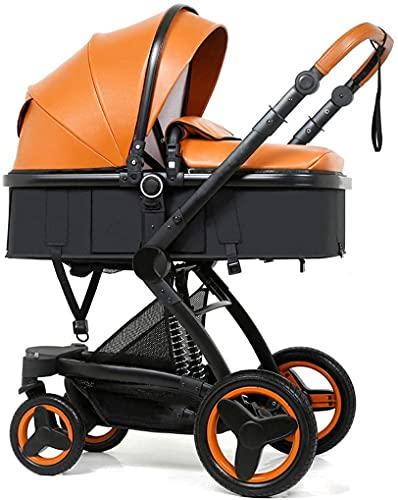Duwen Cochecito portátil plegable, cochecito de bebé, cochecito infantil de alto paisaje y cochecito de cuna reversible, cochecito plegable con dosel ajustable, cesta de almacenamiento, soporte de taz