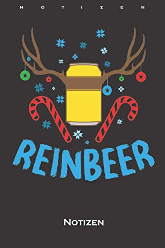Bier und Rentieren ugly Weihnachten Reinbeer Notizbuch: Kariertes Notizbuch für alle die das Fest der Liebe mögen