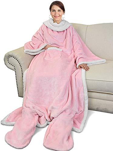 Catalonia TV Decke Kuscheldecke Ganzkörperdecke mit Ärmeln und Füßen Snuggle Decke zum Anziehen Winter Fleece Sherpa Warme Decken für Erwachsene Frauen Männer 190 x 135 cm, Rosa