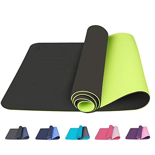 Yoga Mat, Non-Slip Exercise Yoga Mat, Fitness, Pilates, Gymnastics and Home Workouts - Carrying Strap Included (Black & Green)