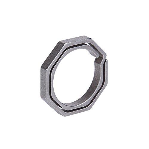 N/F Outdoor Accessories Titanium TC4 Ti Key Chain Octagon Key Ring Keychain CNC Size 20mm