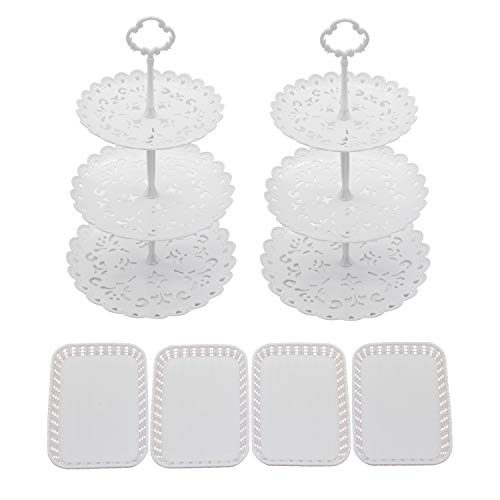 NA Set of 6 Pieces Dessert Stand Cupcake Holder Plate Tray for Wedding Birthday Party Fruits Desserts Candy Bar Display White Round