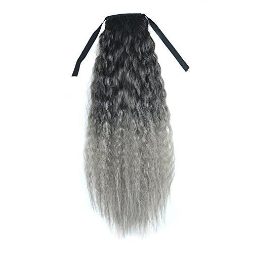 MuSheng(TM) Perruque Ruban de couleur dégradé épaisses ondulées bouclées longues queue de cheval Clip Extensions de cheveux (Gris)