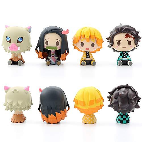 Mini Cute Plushies Figure, 4 Pcs Kimetsu No Yaiba Anime Figure Set, Tanjiro Zenitsu Nezuko Inosuke Action Figure Statues, Collectible Figure Doll Toys for Car Home Decoration Bianshen