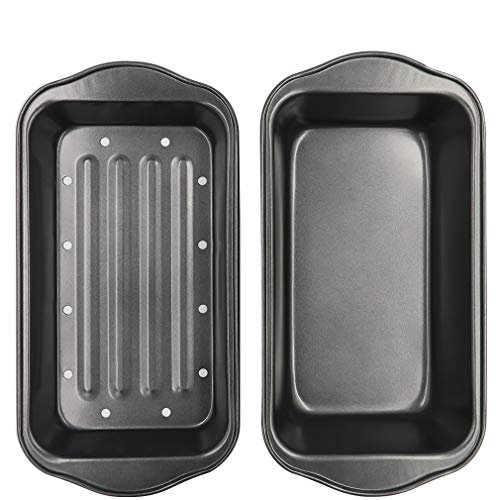 Evelots 2 Piece Non Stick Meatloaf Pan Drains Fat As It Cooks -...