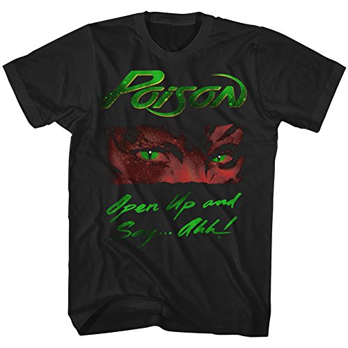 Licensed Poison Open Up Say Ahhh 1986 Adult T-Shirt, Black, S to 6XL