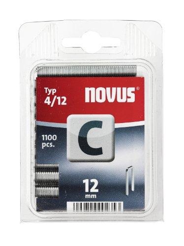 Novus Schmalrückenklammern 12 mm, 1100 Klammern vom Typ C4/12, Heftmittel für Profilhölzer, Paneele und Holzfaserplatten