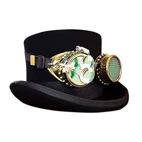 N\C Disfraz Steampunk Sombrero de Copa, máscara, Gafas y Engranajes de Cobre Vintage Accesorios góticos victorianos para Cosplay Mascarada de Halloween, XL LKWK
