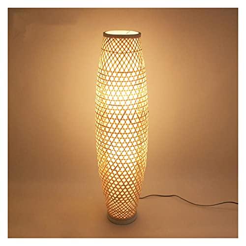CHENGCHAO lámpara de Piso Bambú Mimbre ratán Sombra florero lámpara de Piso luz rústico asiático japonés nórdico Arte luz Corredor luminaria Montaje luz iluminación (Lampenschirm-Farbe : Bamboo)