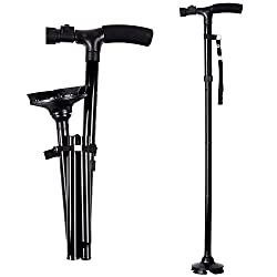 professional Folding cane with LED light for dad, cane with adjustable carry bag …
