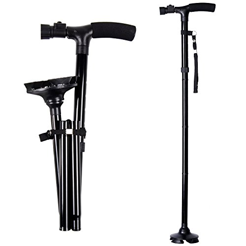 Folding Walking Cane with LED Light by Ohuhu, Adjustable Canes and Walking Stick with Carrying Bag for Men and Women Sturdy and Lightweight Portable Folding Walking Cane for Fathers Mothers Gifts