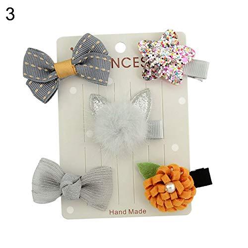 display08 5 pcs/lot Lovely Chiffon Fleur Bowknot étoile bébé Fille Epingle Pince à Cheveux Headwear