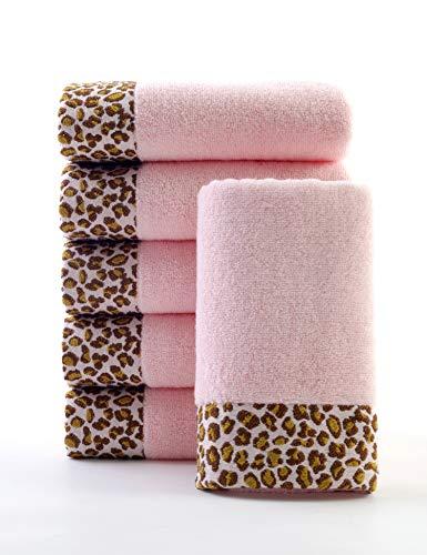 lvse dekoratives Handtuch-Rosa-100% Baumwolle-34x76cm-407 GSM-Flauschig Superweich und saugfähig für den täglichen Gebrauch im Badezimmer(Packung mit 1,34x76cm,105g,Rosa)