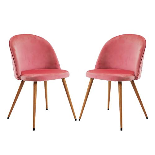 Babody Moderna silla de comedor, juego de 2 sillas tapizadas de tela de terciopelo, sillas de comedor, sillas acolchadas con patas de madera resistentes para sala de estar, dormitorio
