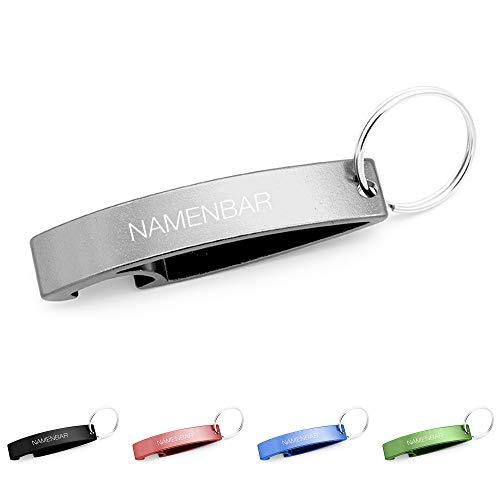 Schlüsselanhänger mit Gravur/Schlüsselanhänger mit Namen - persönlicher Flaschenöffner mit Gravur - Silber