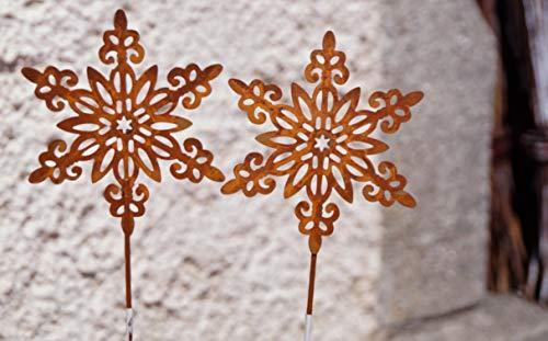 2 Rostoptik Schneeflocken filigran auf Stab 26 cm Dekoration Garten Weihnachten