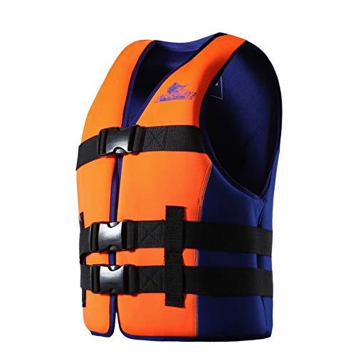 Q-YR Chaleco Salvavidas Profesional Adulto Duradero Flotabilidad Chaleco para Deportes Acuáticos Aprendizaje Natación Snorkeling Pesca Yate,Naranja,XXL