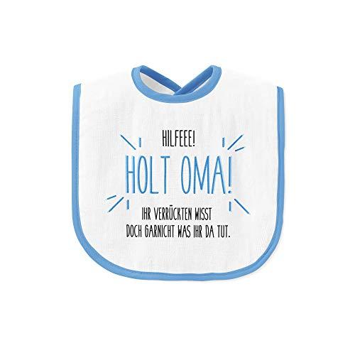 Tassenbrennerei Lätzchen mit Spruch Hilfe Holt Oma - Babylätzchen als Geschenk zur Geburt Junge, Geburtstag für Baby - abwaschbar und waschbar (Blau)