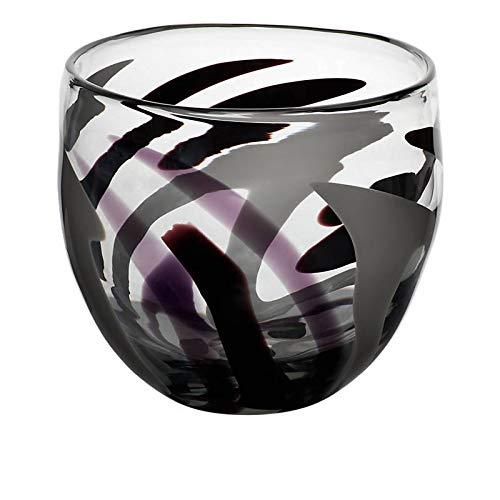 CRISTALICA Glasschale Obstschale Schüssel Murano Flame 21cm Glas violett