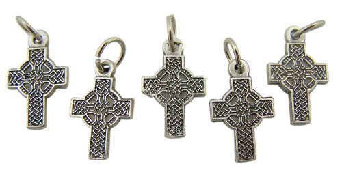 Lot of 5 Irish Celtic High Cross 3/4 Inch Silver Tone Medal Petite Charm