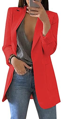 FLYCHEN Donna Blazer Basic Colletto Rivolto Tinta Unita Elegante Ufficio Business Tailleur OL Carriera Tailleur Giacca - Rosso - XXL