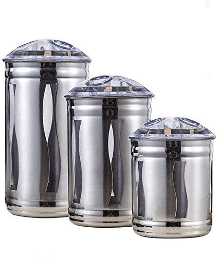 Gläser Glas zum Einmachen von 3-teiligen Küchenkanistern aus Edelstahl mit luftdichten Deckeln und durchsichtigen Fenstern, Speisekammerorganisation und Aufbewahrung für Tee, Kaffee, Snacks, Zucker