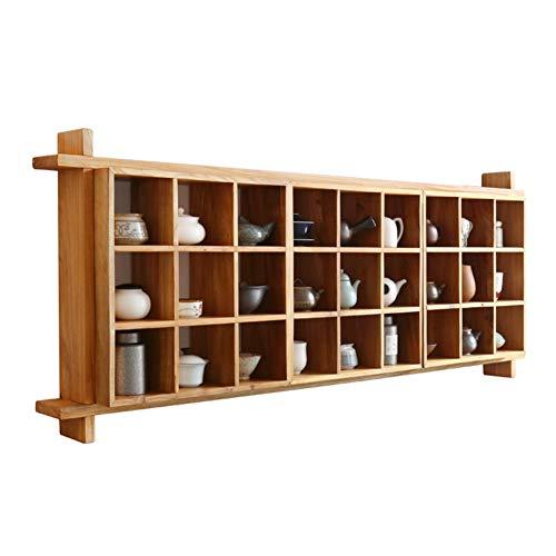 Drijvende wandplanken muur massief hout rechthoek vierkant combinatie thee set duobao paviljoen, 2 maten