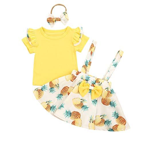 Conjuntos de Verano para niñas recién Nacidas, Mameluco de Manga Corta con Volantes + Falda con Tirantes Florales + Diadema, Conjunto de Ropa de 3 Piezas 90 Amarillo 12-18 Meses
