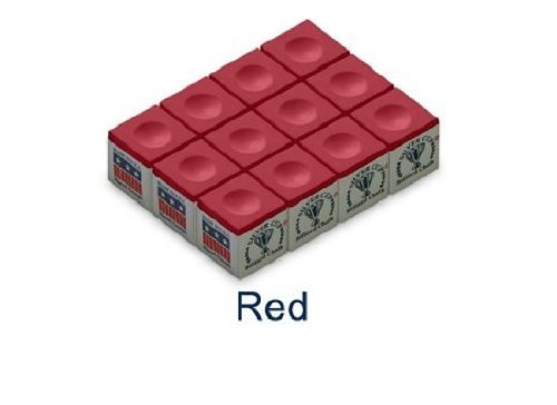 One Dozen Red Silver Cup Pool Cue Chalk by Silver Cup