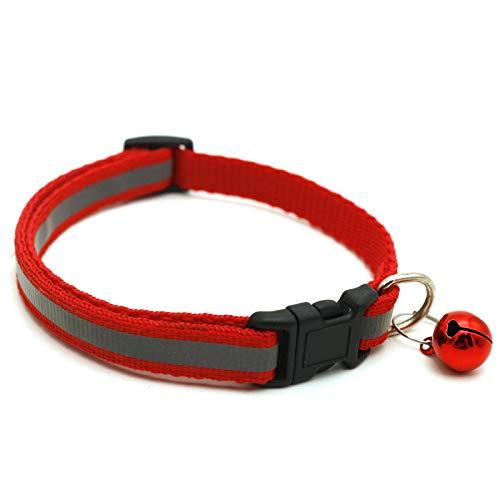 Romsion Home for Pet Reflektierendes Sicherheitshalsband für kleine Hunde und Katzen, 19-32 cm, mit kleinem Glöckchen, Schwarz