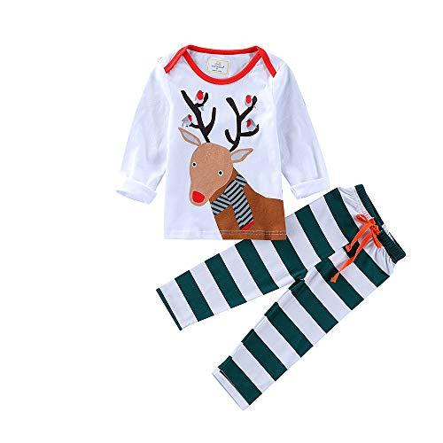 JERFER JERFER 2PCS Weihnachten Kinder Karikatur Hirsch drucken Top + Streifen Hosen Set Outfit