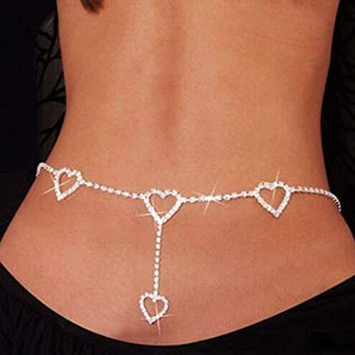 Mayelia Boho Cadena del cuerpo Plata Amor Cadena del vientre Party Sexy Bikini Body Chian Jewelry para mujeres y niñas
