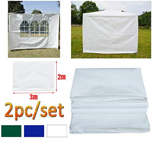 DayPlus Gartenpavillon Seitenteile 2 Stück, 3m x 2m Pavillon Seitenwand - 1 Stück mit Fenster, 1 Stück ohne Fenster Seitenteile für 3m x 3m Pavillon und 3m x 6m Pavillon, weiß