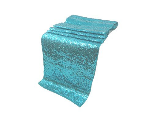 ELINA'S Pack OF1Wedding 13 x 108 inch Sequin Table Runner Wedding Banquet Decoration (1, Diamond Blue/Aqua)