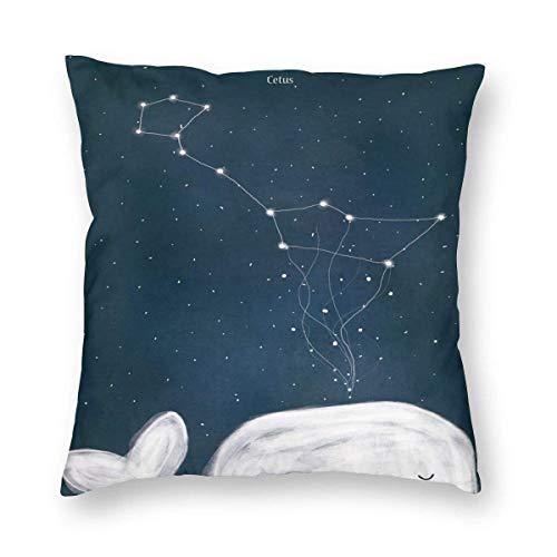 OneDay-Shop Kissenbezug Dekorative quadratischer Nachthimmel Arktische Sternbilder Cetus Kissenbezüge mit Reißverschluss Couch 1pack, 18 'X18'